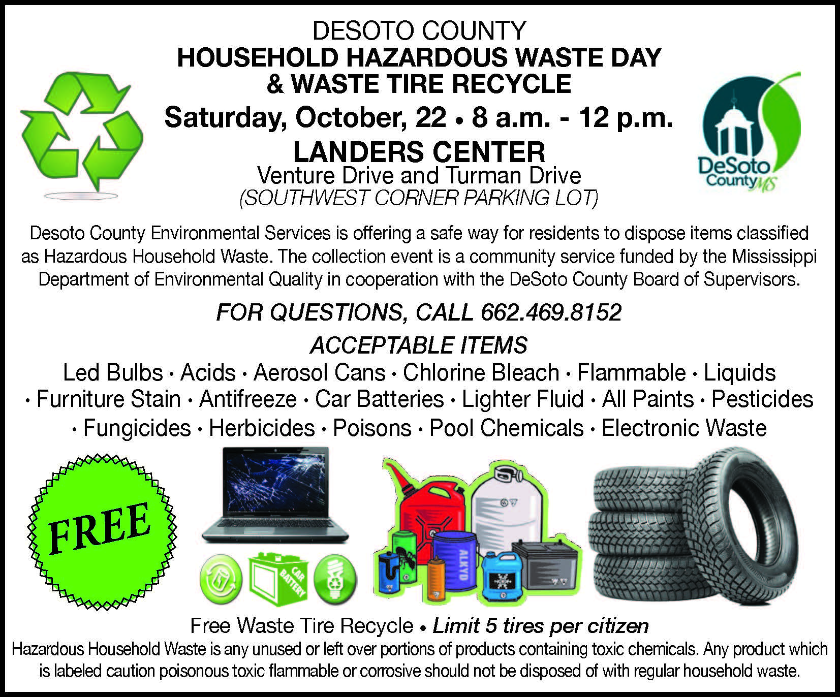 Hazardous Waste Flyer indicating recycling times at the Landers Center