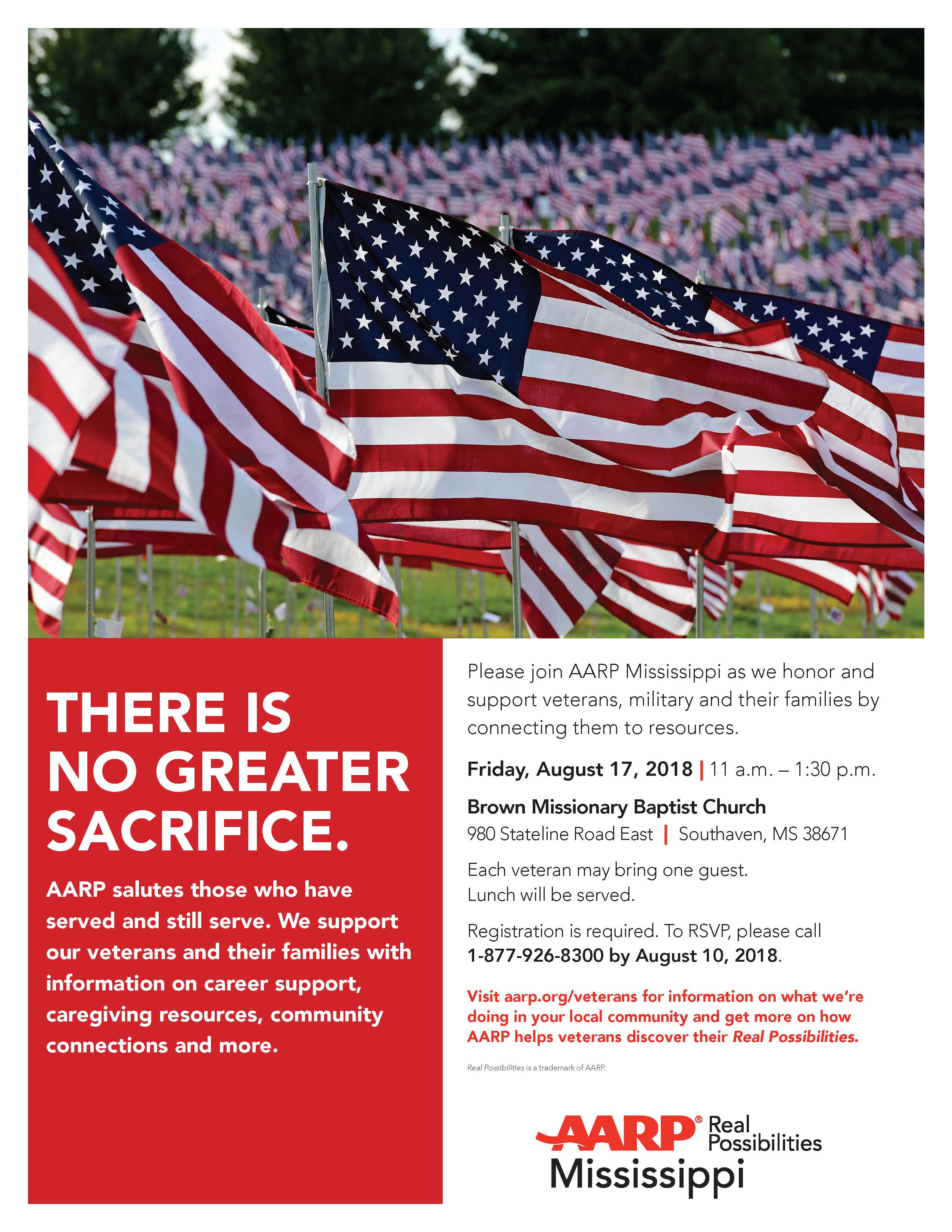 AARP MS Southaven veterans flyer