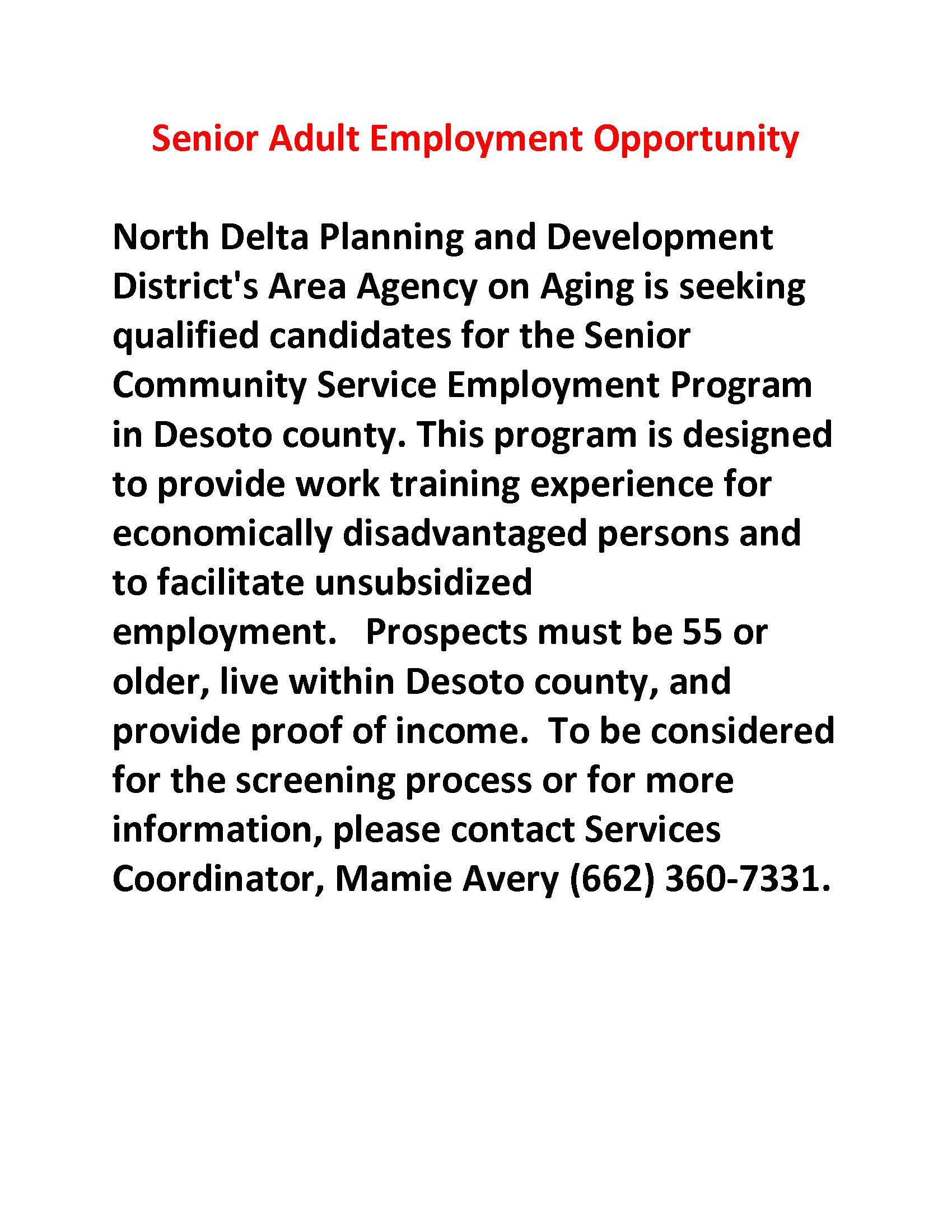 Senior Adult Employment Opportunity