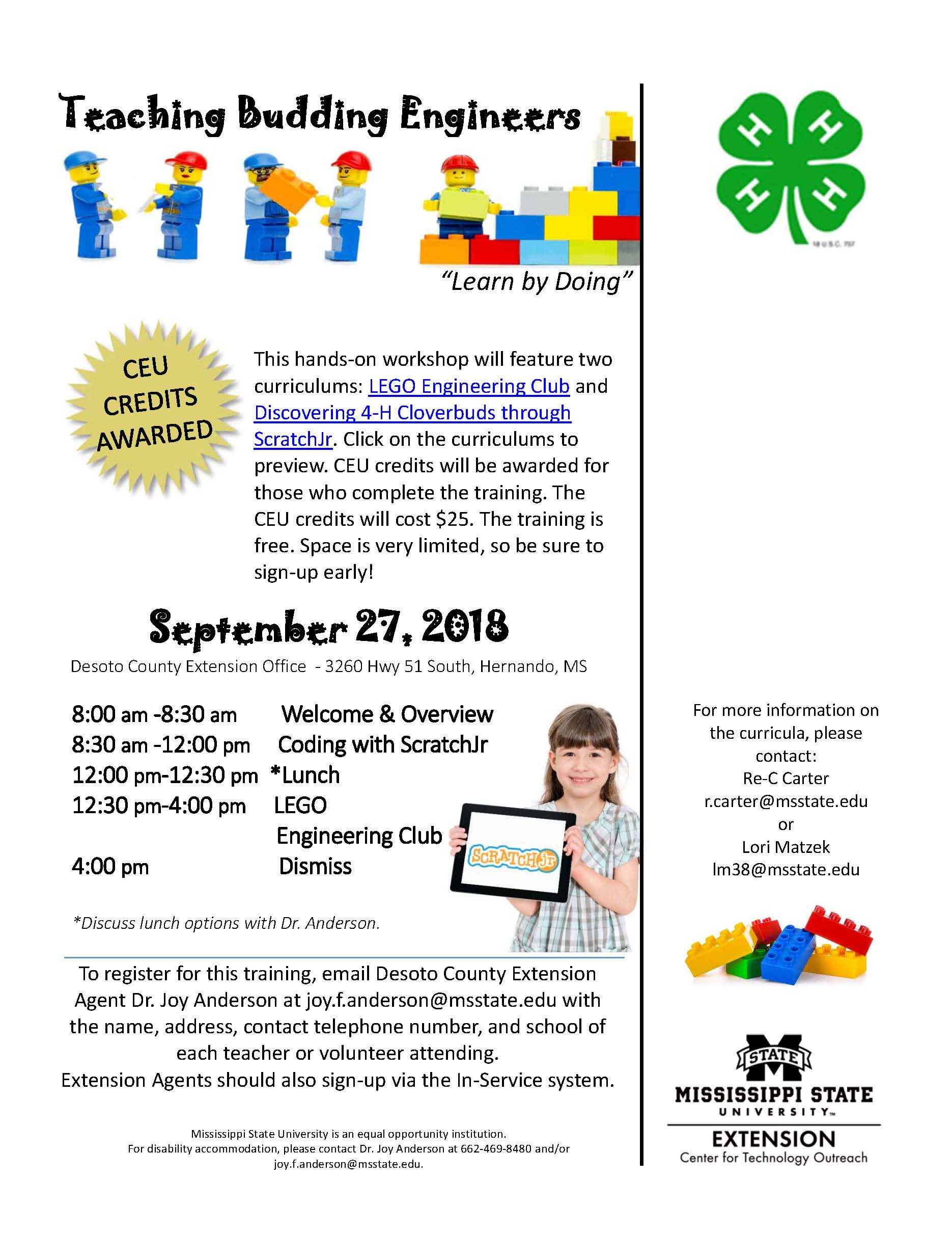 Flyer for LEGO Club and ScratchJr_Desoto