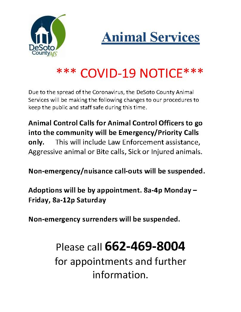 Covid-19 precautions for Animal Control