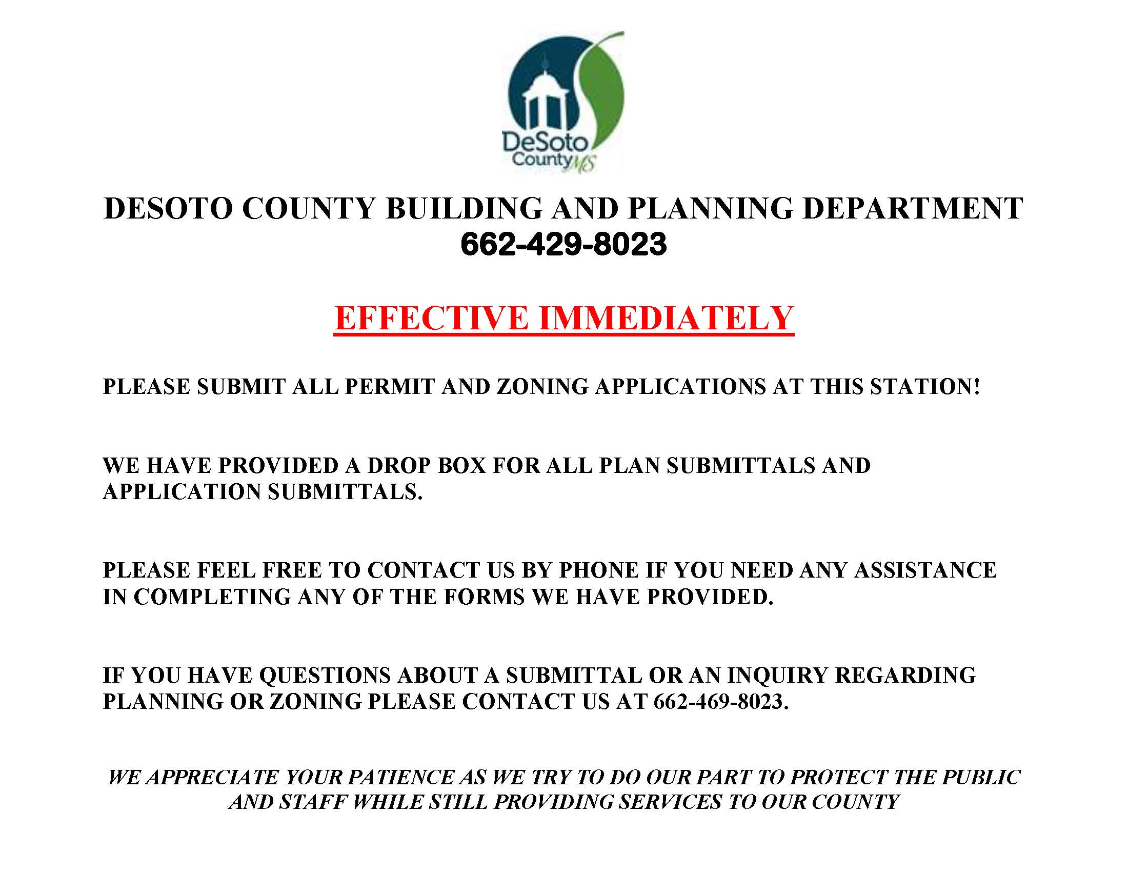 DESOTO COUNTY BUILDING AND PLANNING DEPARTMENT SIGN
