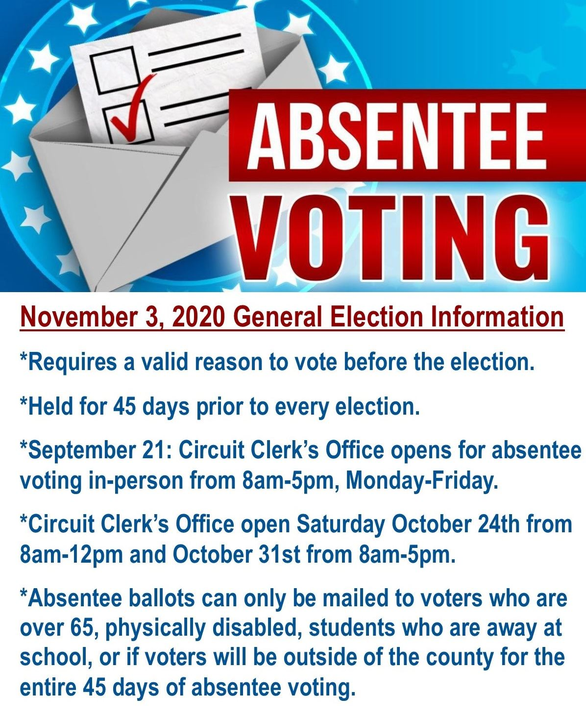 Absentee voting starts September 21, 2020 at Circuit Clerk's Office