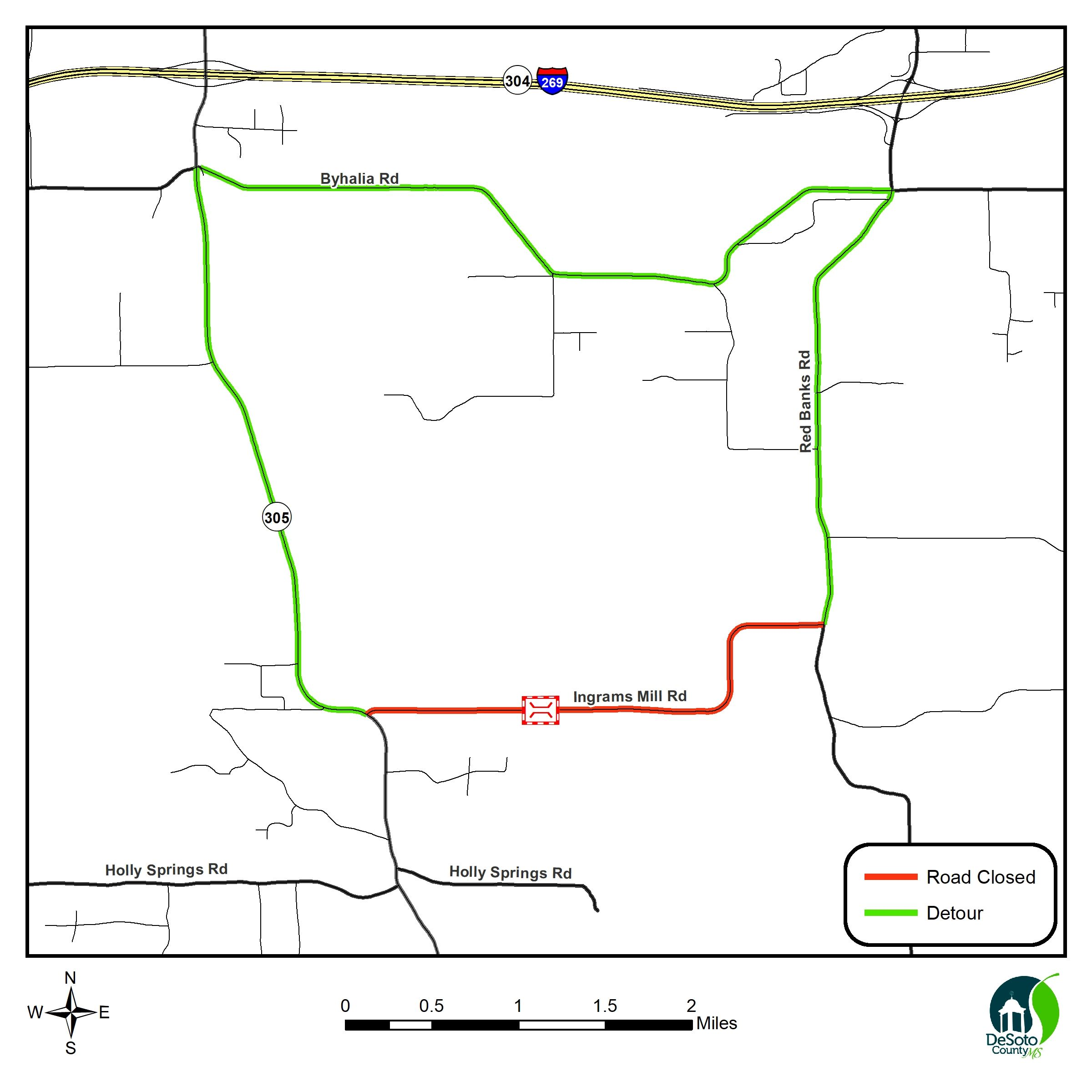Map of  Ingrams Mill Closure between Highway 305 and Red Banks road and Detour across Byhalia road
