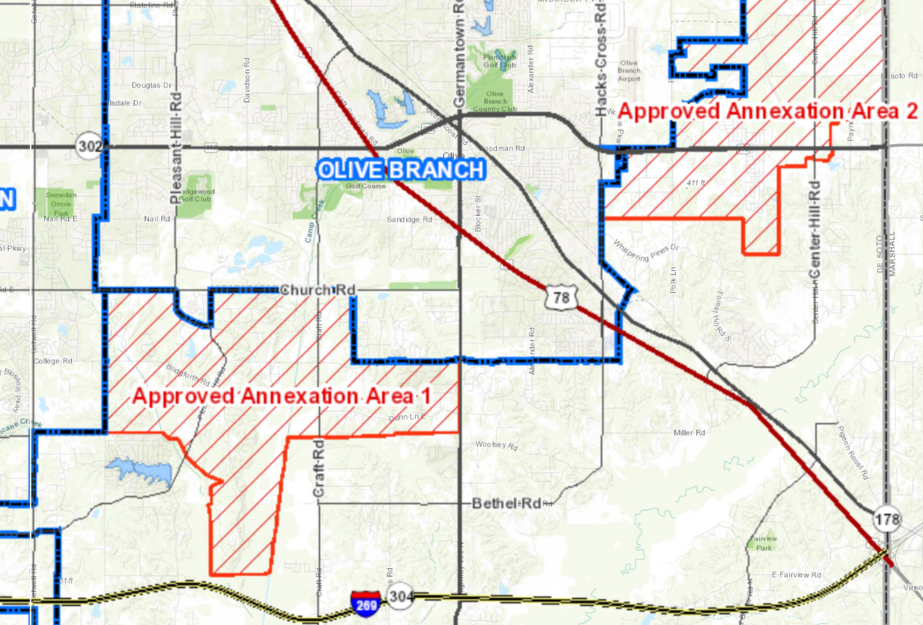 Olive Branch Map with Annexation area